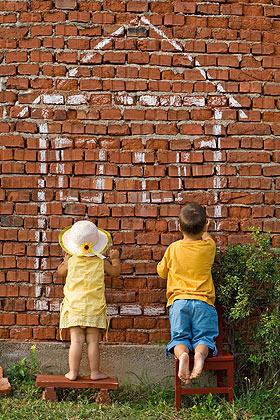 Kinder malen Haus