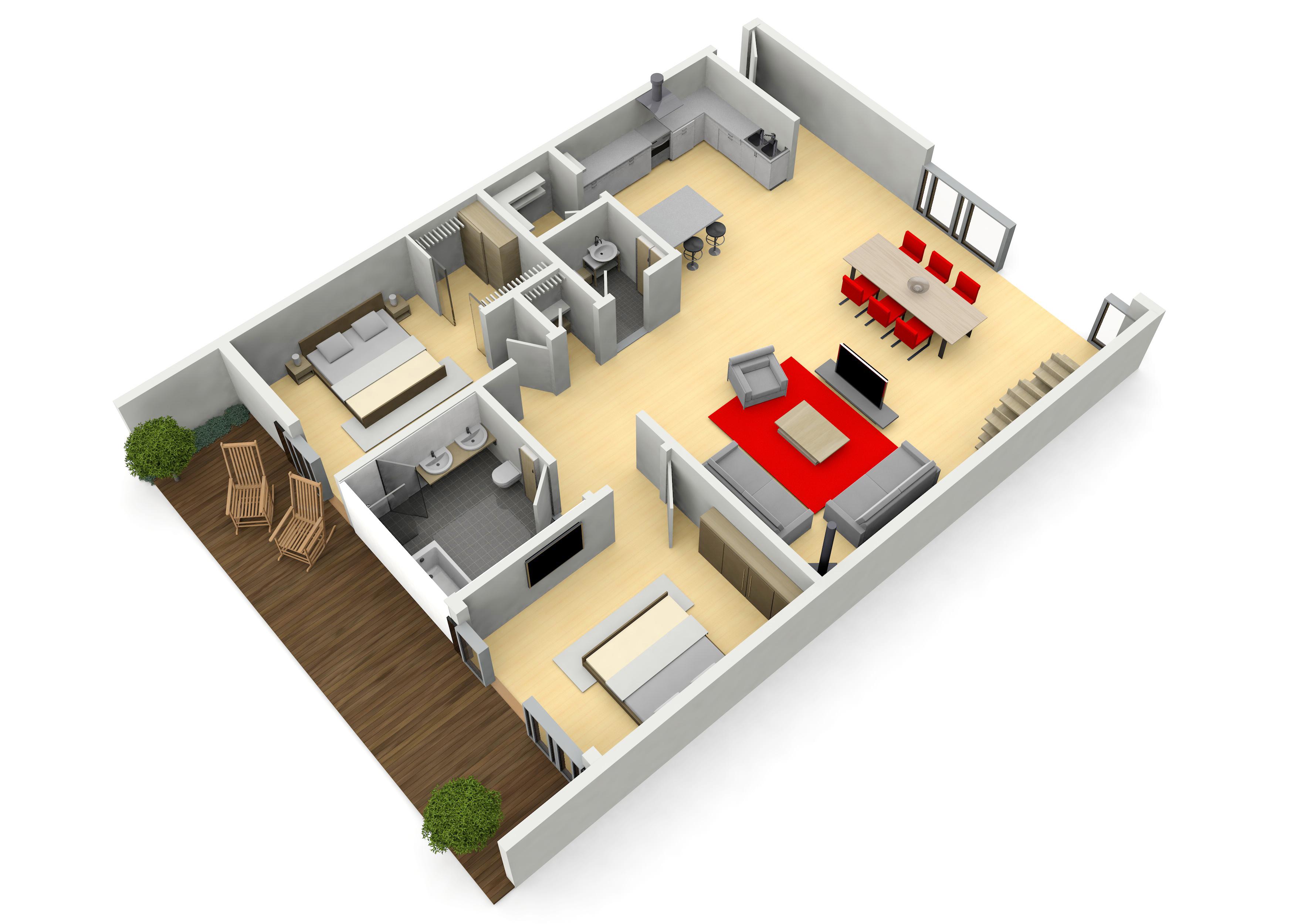 3D-Grundriss einer Wohnung