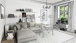 Wohnung Realität Zeichnung