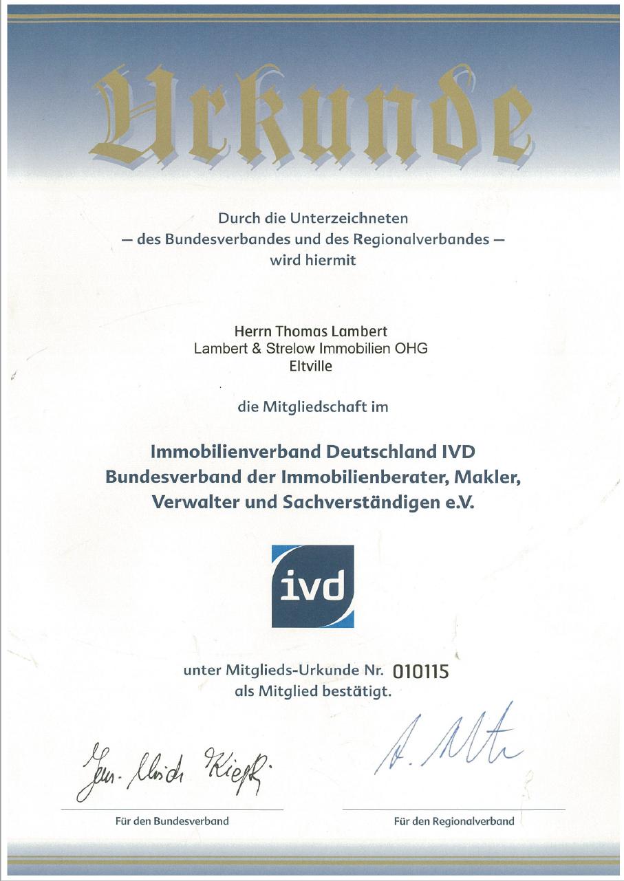 Urkunde Mitgliedschaft IVD