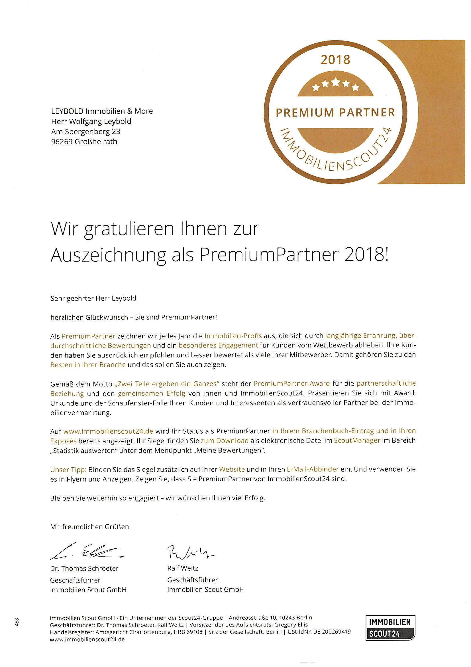 Auszeichnung Premiumpartner Immobilienscout24