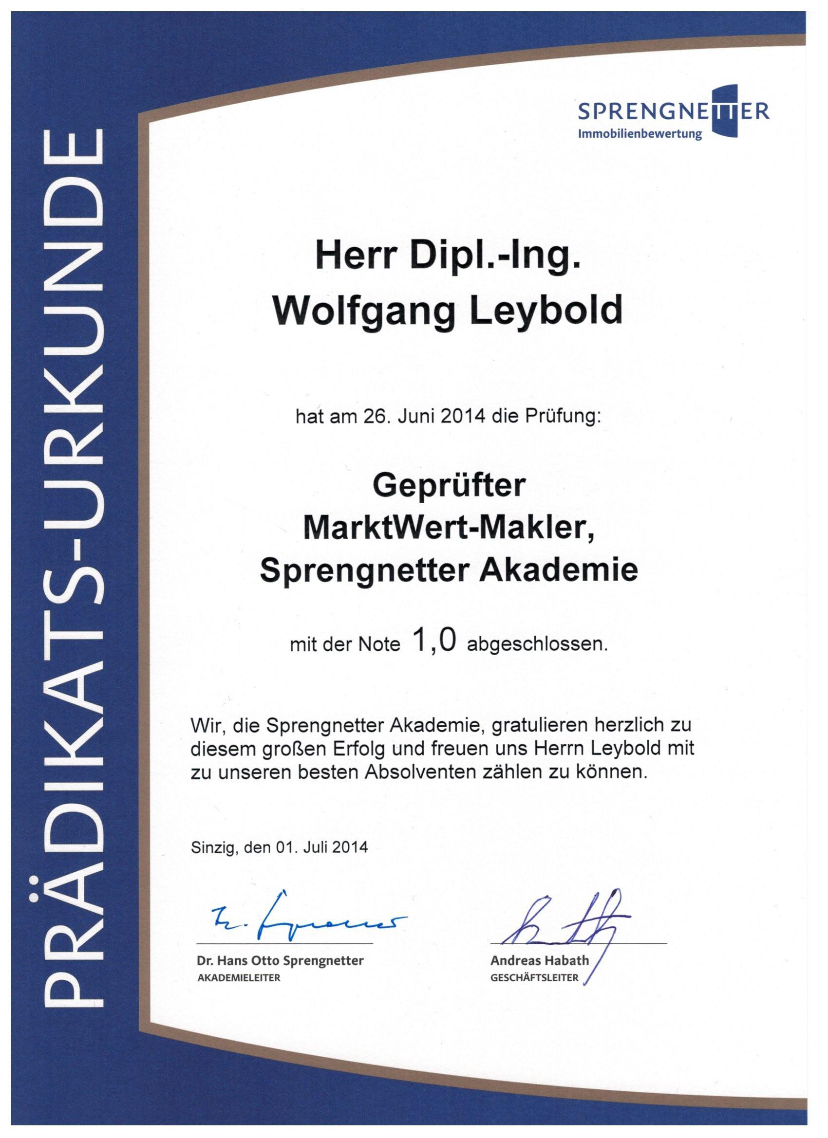 Sprengnetter Urkunde MarktWert-Makler