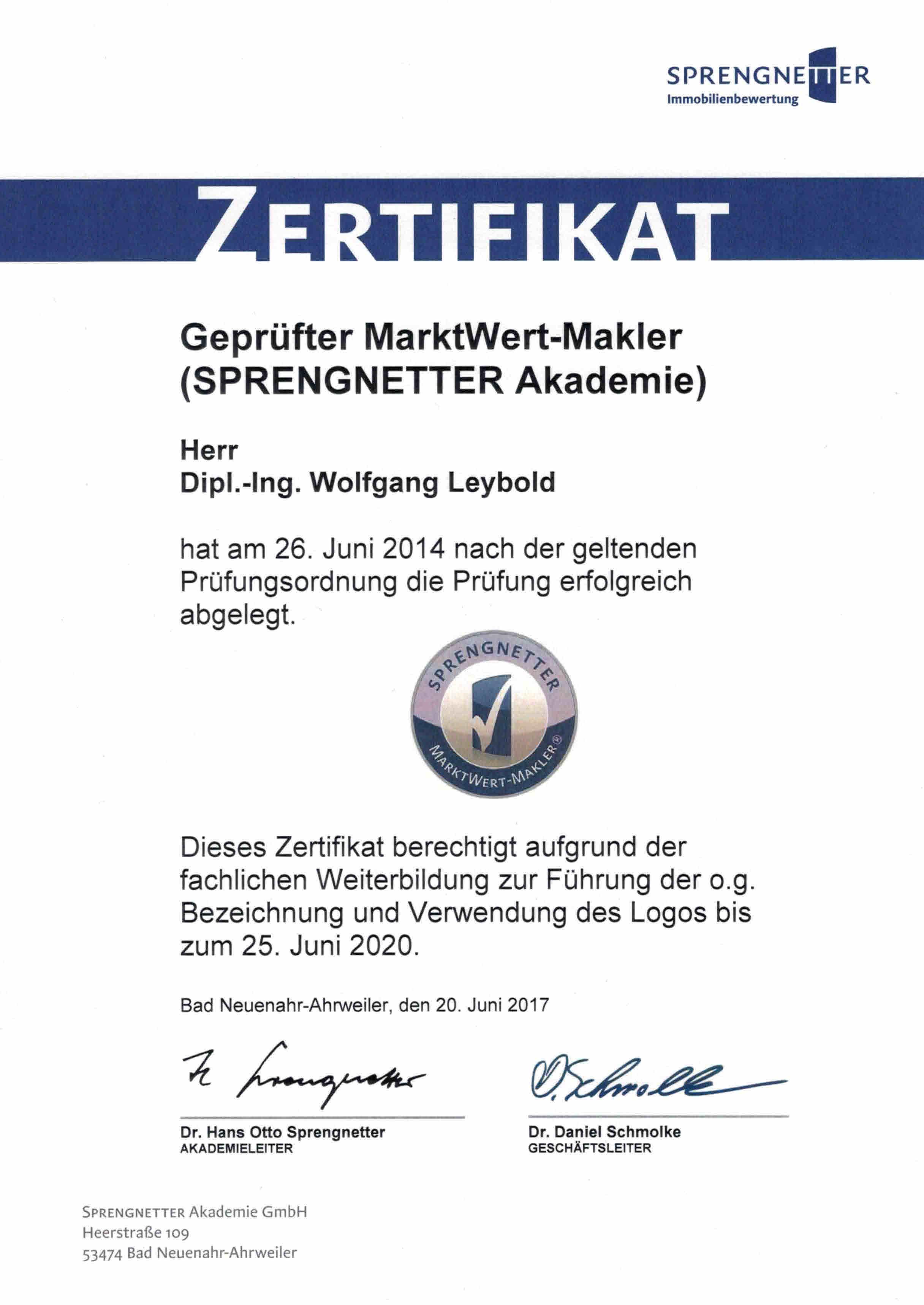 Sprengnetter Zertifikat MarktWert-Makler