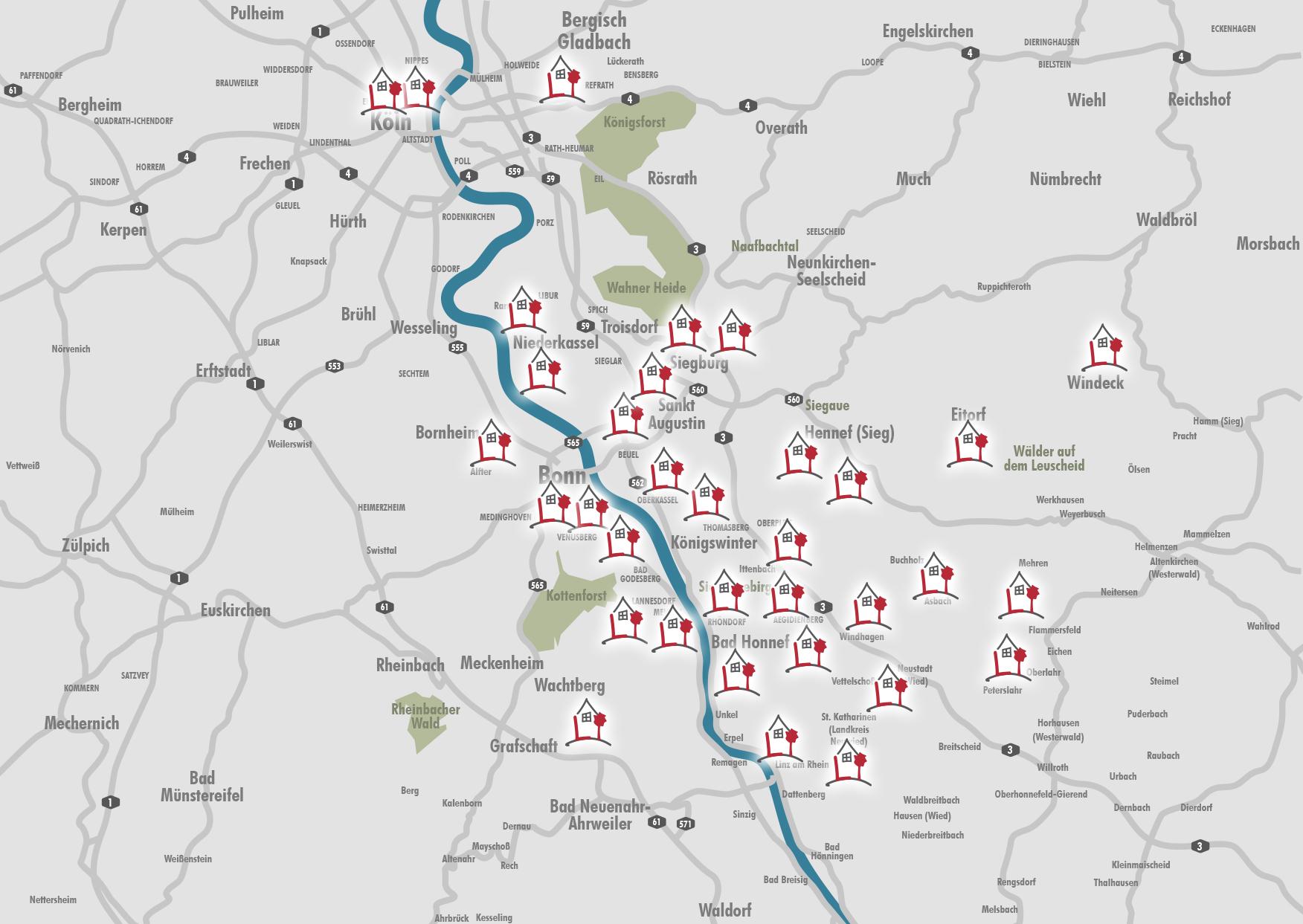 Karte mit Referenzen
