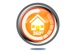 Button für 360 Grad Rundgang für ein Haus