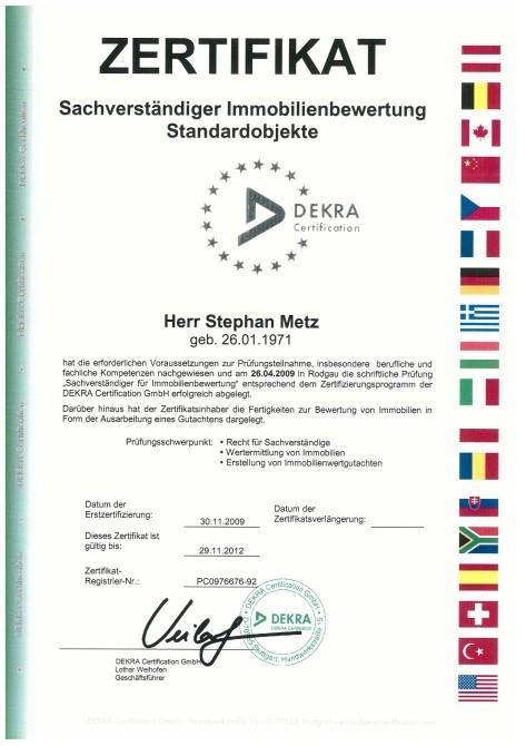 Zertifikat Sachverständiger Immobilienbewertung Standardobjekte Metz