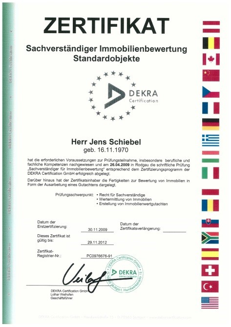Zertifikat Sachverständiger Immobilienbewertung Standardobjekte Schiebel