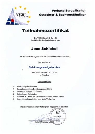 Teilnahmezertifikate Jens Schiebel