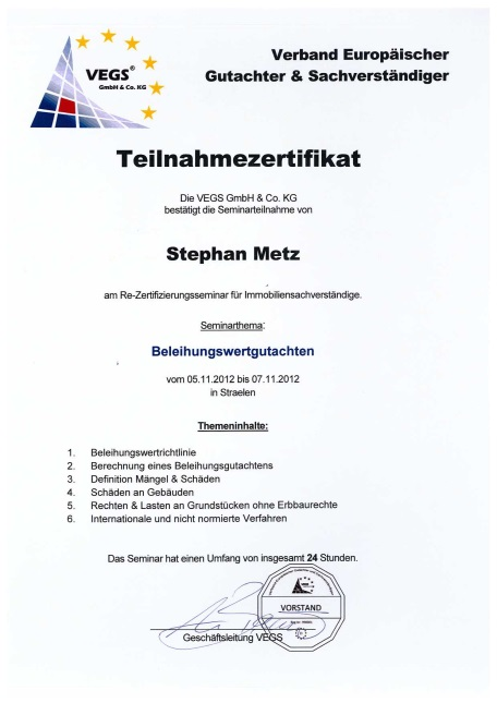 Teilnahmezertifikate Stephan Metz