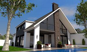 Villa mit Satteldach und Pool