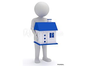 Animierte Person trägt ein Einfamilienhaus