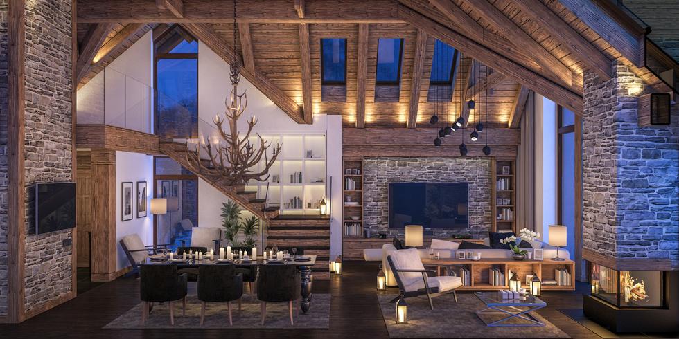 Wohnzimmer mit Kamin und Naturstein