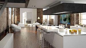 Luxuriöse Küche in einem Loft