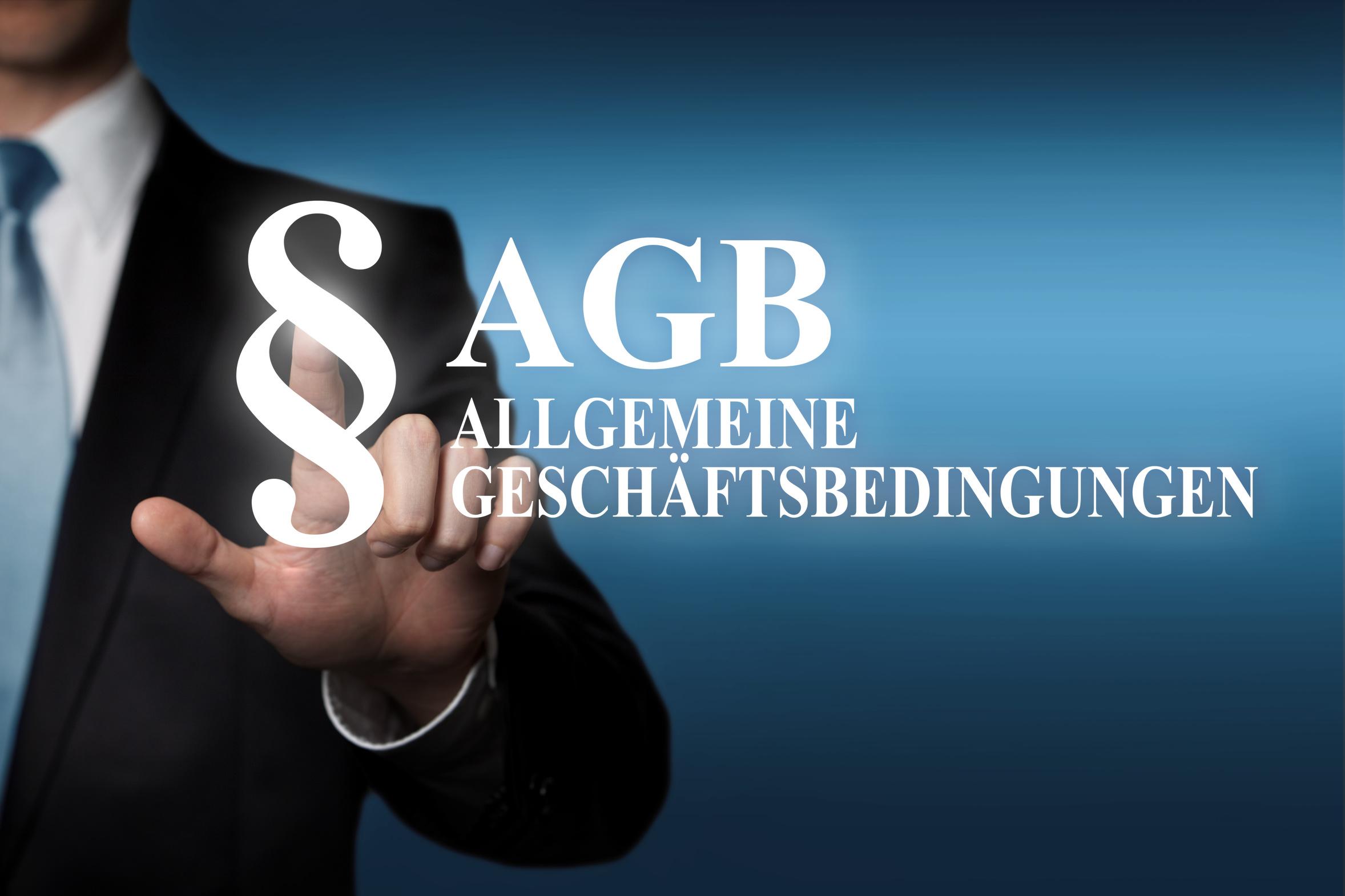 Animation Makler der auf Schriftzug AGB verweist