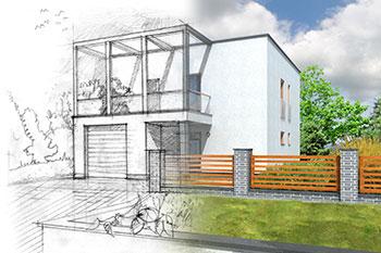 Skizze eines Hauses