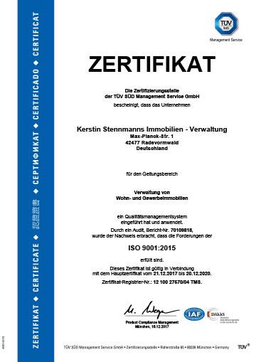 TÜV Zertifikat Kerstin Stennmanns