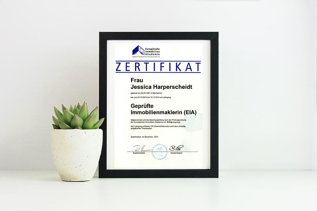 EIA Zertifizierung Geprüfte Immobilienmaklerin