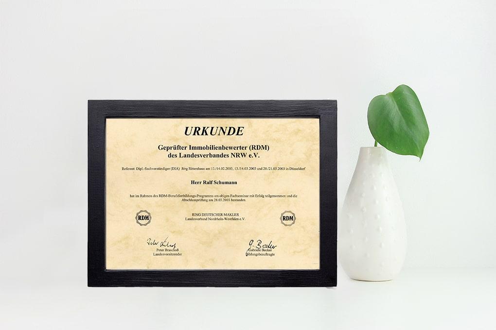 RDM Zertifikat Geprüfter Immobilienbewerter
